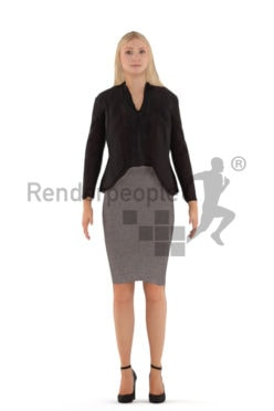 3D People model for animations – european woman in business clothes, standing