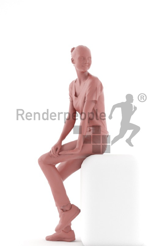 3d people service, white 3d woman sitting