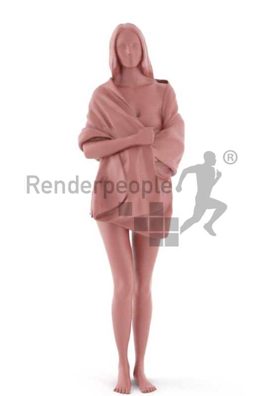 3d people spa, white 3d woman with a towl