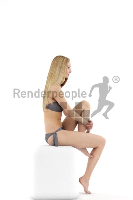 3d people beach, white 3d woman in bikini sitting