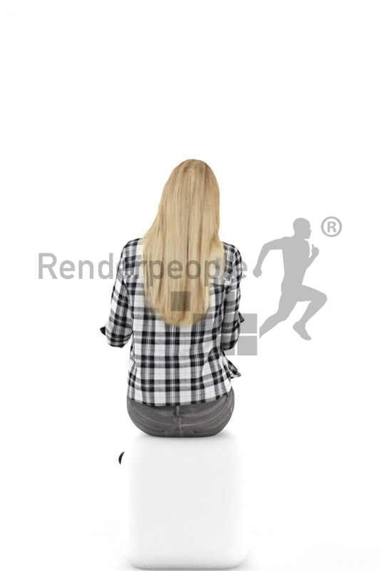 3d people casual, white 3d woman sitting and drinking an espresso