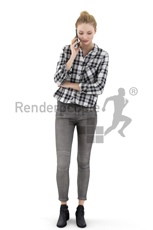 3d people casual, white 3d woman talking on the phone