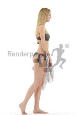 3d people beach, white 3d woman in bikini with towl