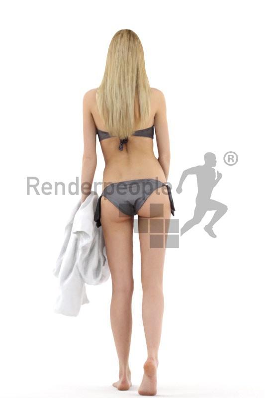 3d people beach, white 3d woman in bikini with towl