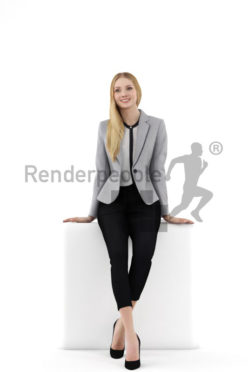 3d people business, white 3d woman leaning against rail