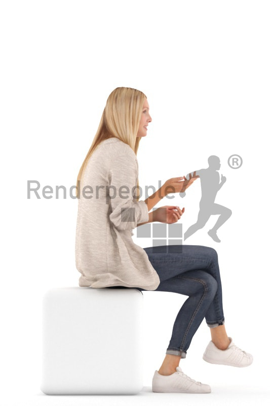 3d people casual, white 3d woman sitting and discussing