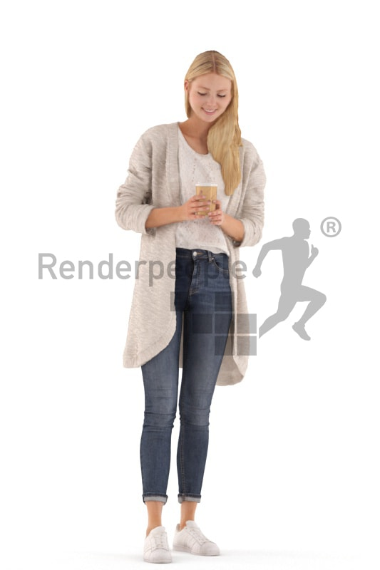 3d people casual, white 3d woman standing and drinking coffee