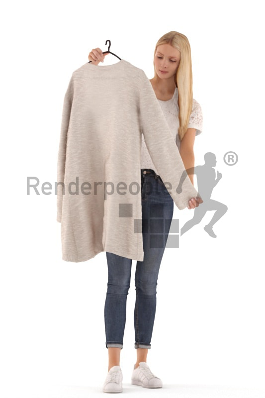 3d people casual, white 3d woman standing and looking at a cardigan