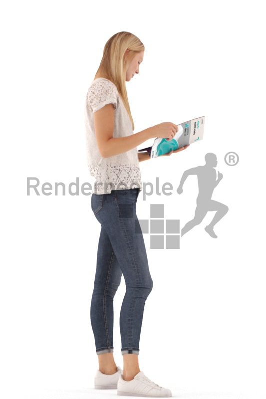 3d people casual, white 3d woman standing and reading a magazine