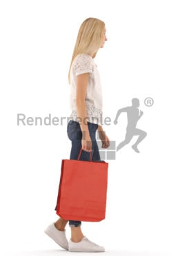 3d people casual, white 3d woman walking with shoping bags