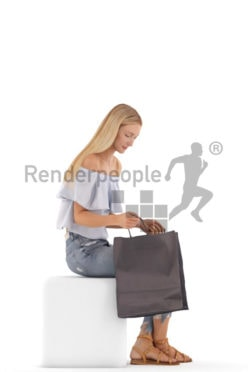 3d people casual, white 3d woman sitting and looking in a shopping bag
