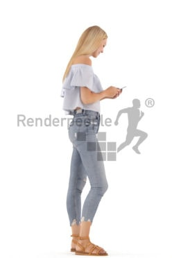 3d people casual, white 3d woman standing and texting on her phone