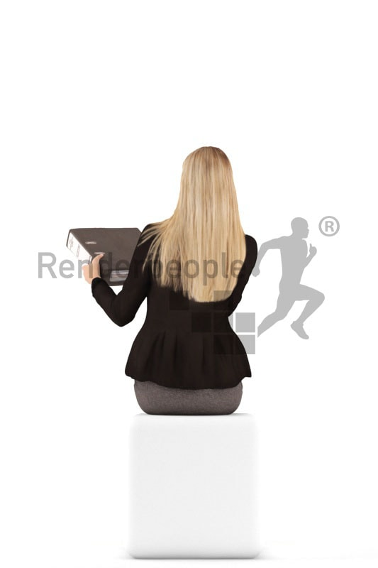 3d people business, white 3d woman sitting handing a folder