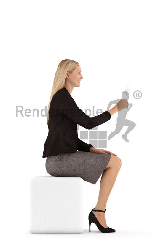 3d people business, white 3d woman sitting and drinking