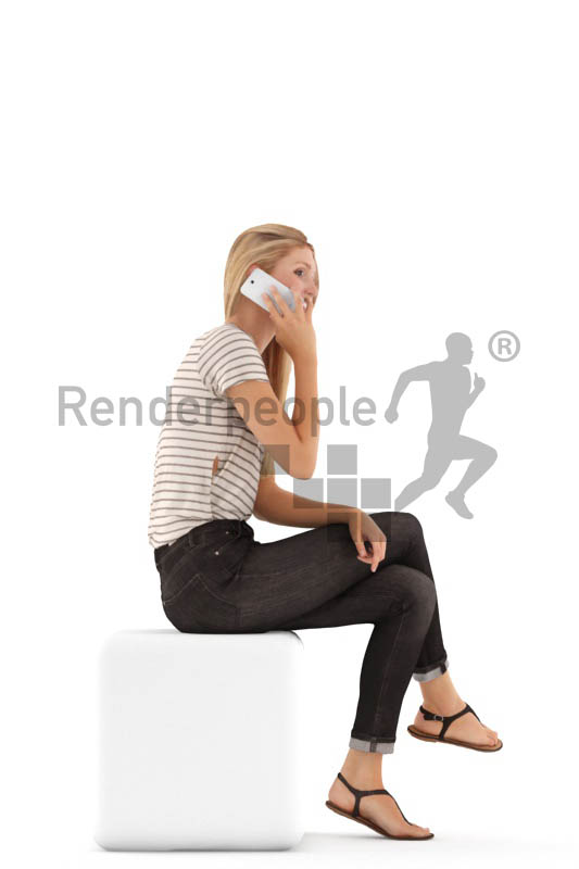 3d people casual, white 3d woman sitting and calling