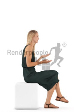 3d people evening, white 3d woman sitting and discussing