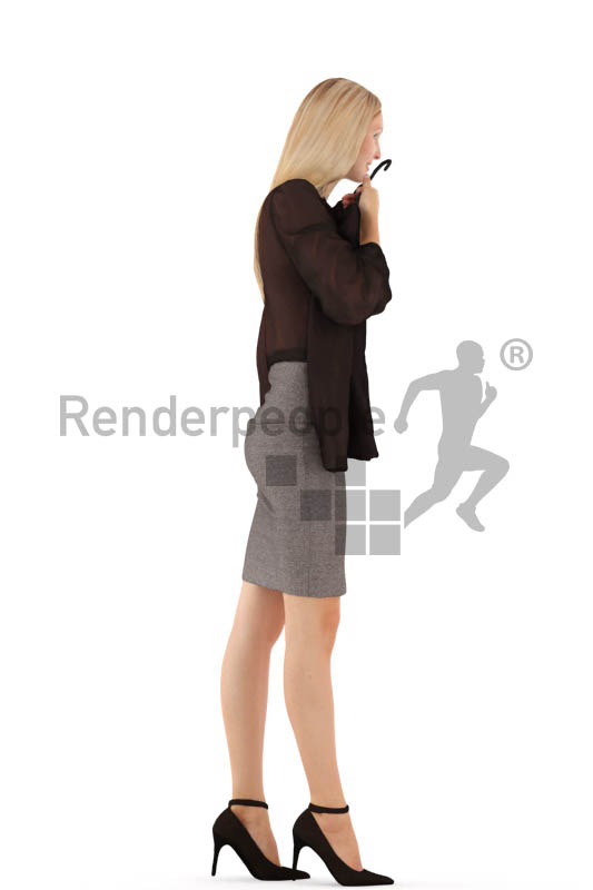 3d people business, white 3d woman walking and shopping