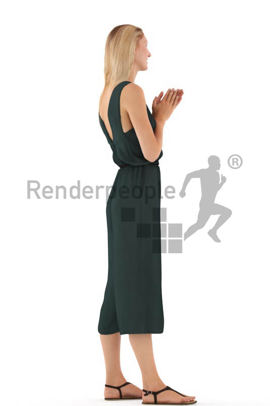 3d people casual, white 3d woman standing