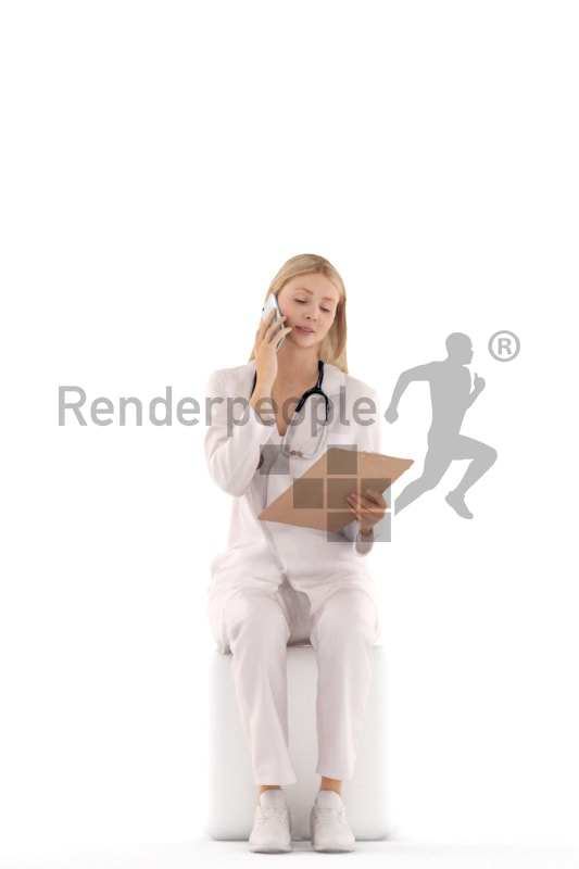 3d people doctor, white 3d woman sitting and calling