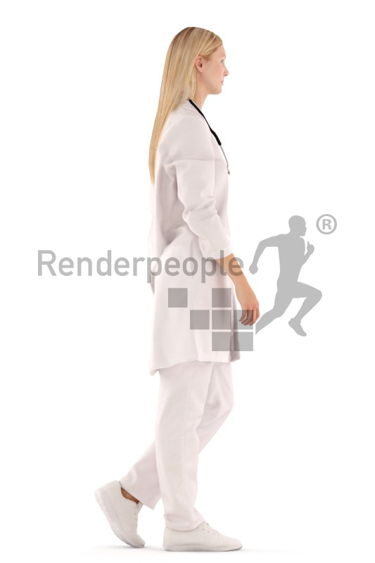 3d people doctor, white 3d woman walking