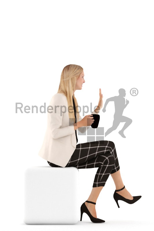 3d people business, white 3d woman sitting, drinking and waving