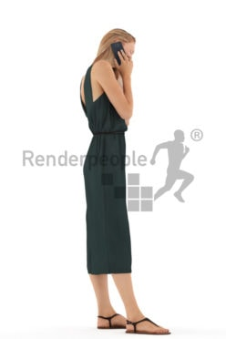3d people casual, white 3d woman standing and calling