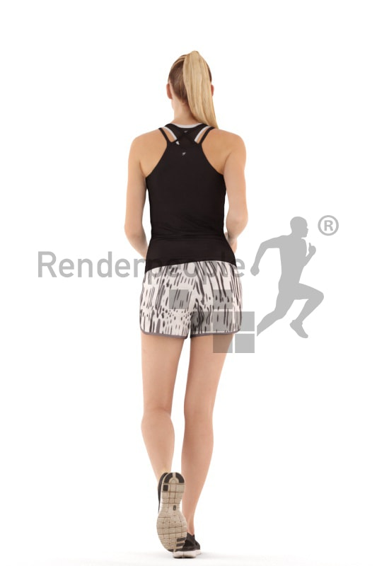 3d people sports, white 3d woman running
