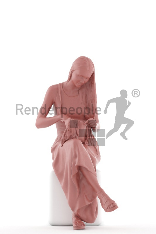 3d people casual, white 3d woman sitting and looking into her briefcase