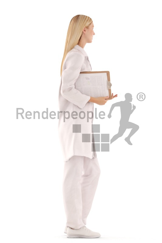 3d people doctor, white 3d woman standing
