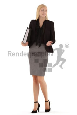 3d people business, white 3d woman standing and looking into a folder