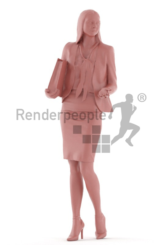 3d people business, white 3d woman standing and holding a folder