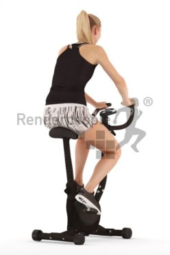 3d people sports, white 3d woman sitting on an ergometer