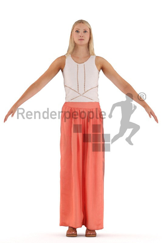 Rigged human 3D model by Renderpeople – european female in casual summer look