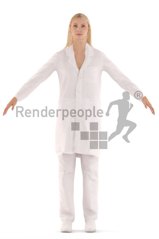 3d people healthcare, rigged woman in A Pose