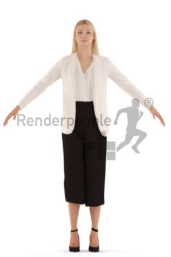 3d people business, rigged woman in A Pose