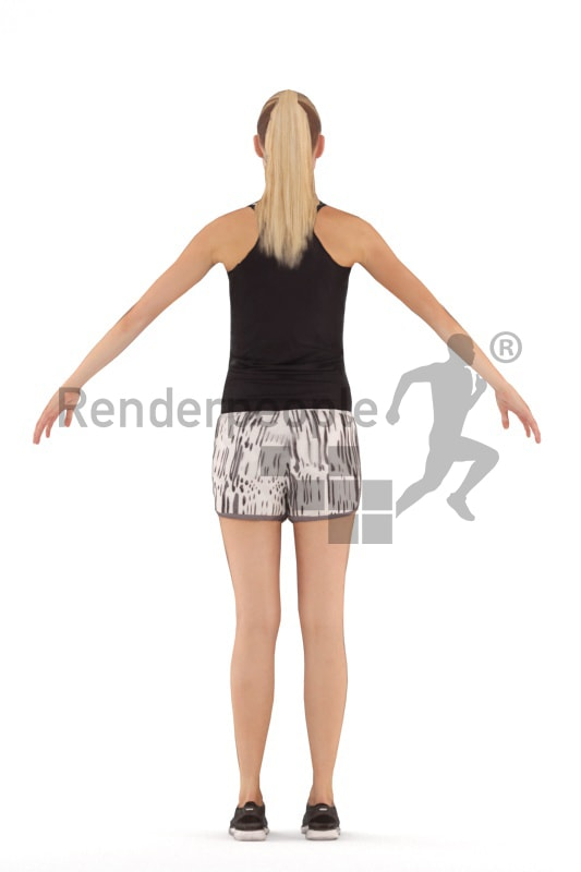 3d people sports, rigged woman in A Pose