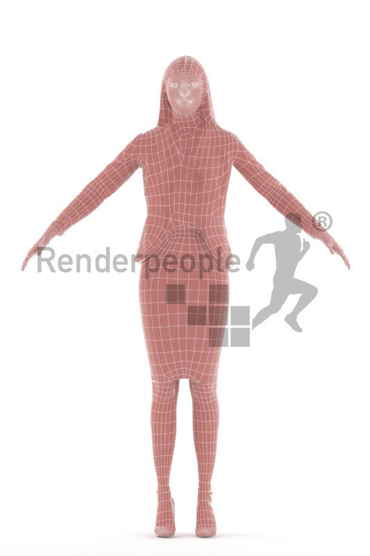 3d people business, 3d white woman rigged