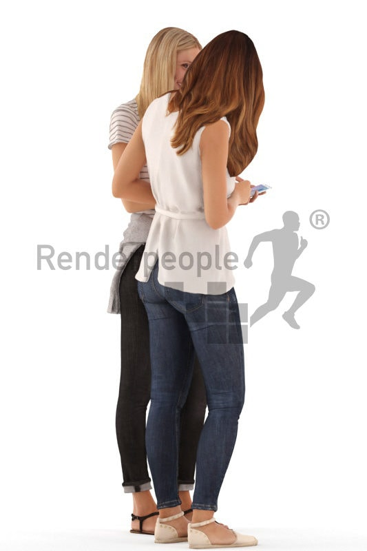 3d people casual, white 3d women standing and talking loking at a phone