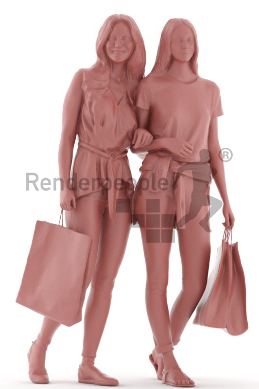 3d people casual, white 3d women walking,shopping together