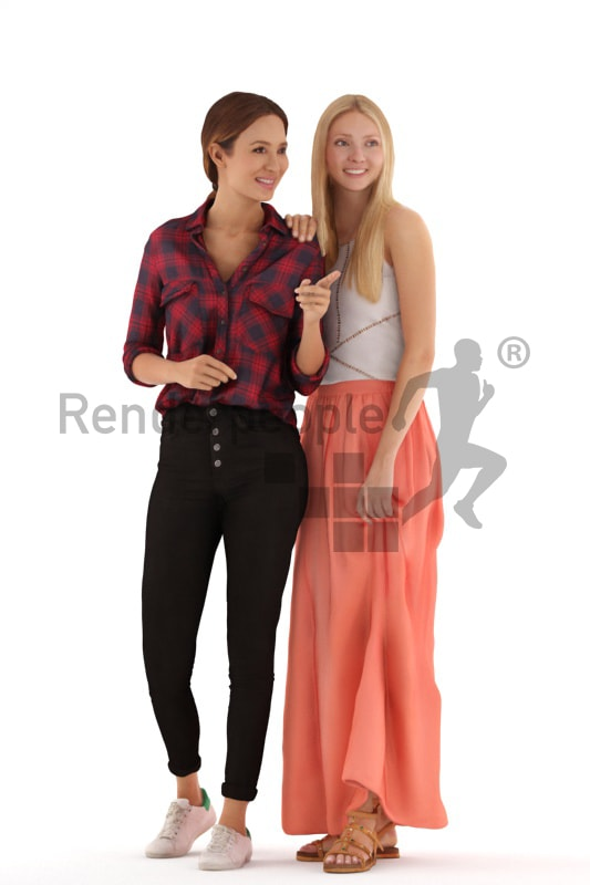 3d people casual, white 3d women standing looking at something