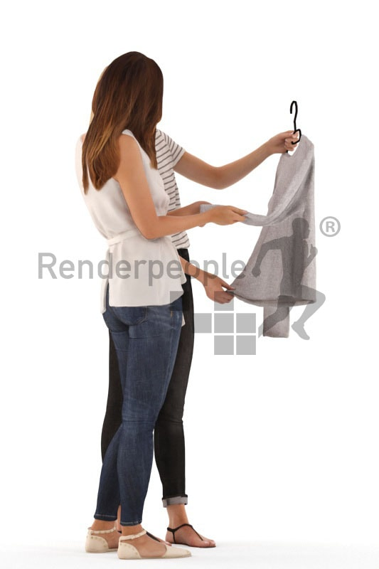 3d people casual, white 3d women standing talking about a shirt