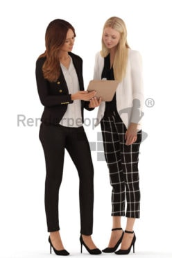 3d people business, white 3d women standing and discussing