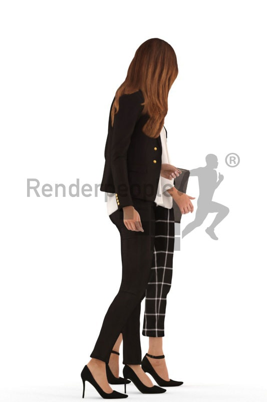 3d people business, white 3d women walking and talking