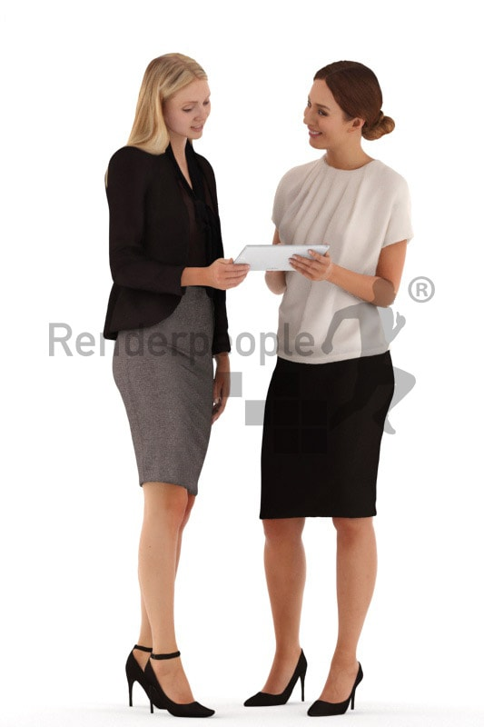 3d people business, white 3d women standing with a tablet and discussing