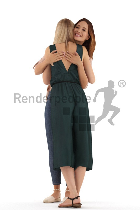 3d people casual, white 3d women hugging