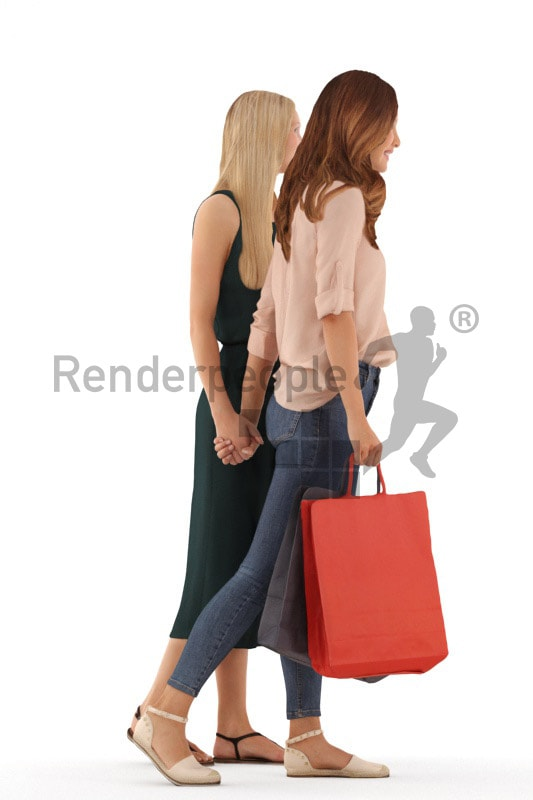 3d people casual, white 3d women walking together, shopping