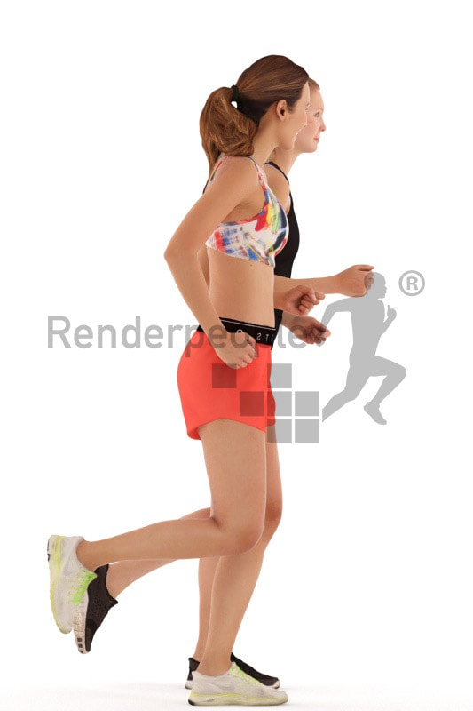 3d people sports, white 3d women running together