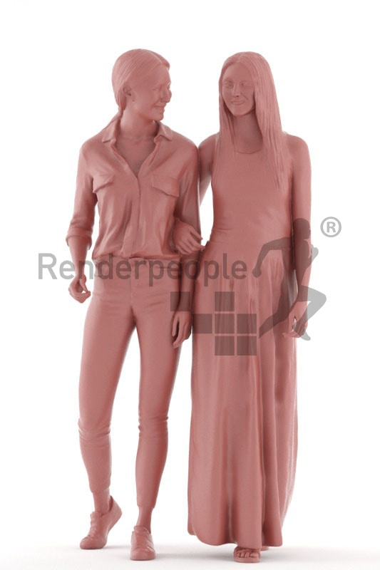 3d people casual, white 3d women standing and walking