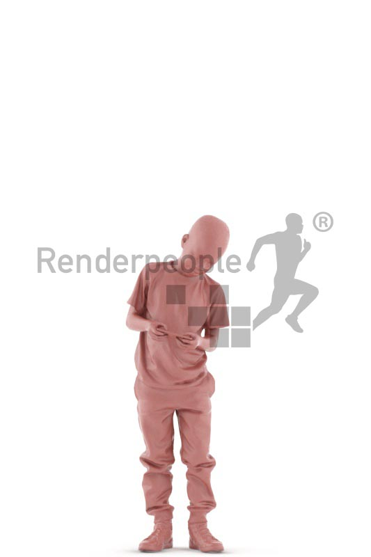 3d people casual, white 3d kid standing playing video games