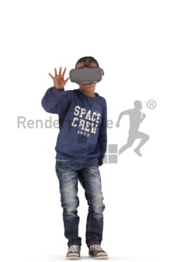 3d people casual, black 3d kid sitting 3d kid standing playing with VR headset
